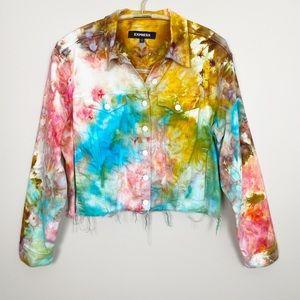 Jackets & Blazers - Tie Dye Denim Jacket L Colorful Trendy Abstract
